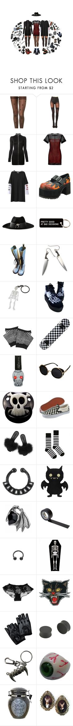 """HAPPY HALLOWEEEN"" by s8tan ❤ liked on Polyvore featuring S'well, Pretty Polly, Anthony Vaccarello, Sandro, T.U.K., UNIF, Various Projects, Dr. Martens, Forever 21 and Equipment"
