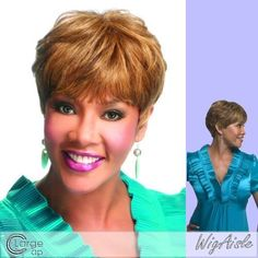 """H302-V (Vivica A. Fox) - Human Hair Full Wig in OFF BLACK by Vivica A. Fox. $41.25. Styling required to achieve the exact look shown. Human Hair Full Cap Wig. Short length. Wavy style. Average cap size. The color you receive may vary from the swatch shown due to your monitor and the distribution of the color fibers dictated by the style.. Color 1B is OFF BLACK. Color shown is P4/27/30. Color 1B is OFF BLACK (Color shown is P4/27/30) - 9"""" FEATHERED BANG ROUNDED CUT SIDE... Beauty Hair Extensions, Tape In Hair Extensions, Short Cut Wigs, Vivica Fox, Full Bangs, 100 Human Hair Wigs, Dark Brown Color, Color Show, Color 2"""
