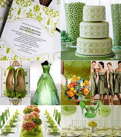 Grönt färgtema på bröllop / Color theme: green