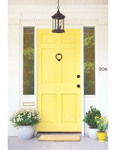 Looking for a perfect feng shui color for your front door? We have stunning front door colors with great feng shui energy all ready for you, choose yours! Yellow Front Doors, Front Door Paint Colors, Painted Front Doors, Front Door Design, Popular Paint Colors, Best Paint Colors, Yellow Paint Colors, Exterior Doors, Exterior Paint