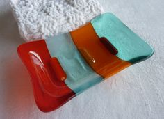 Elegant and contemporary style soap dish in tangerine and aquamarine transparent and opaque glass@BPR Designs#brigadeteam@house@gift$15.00
