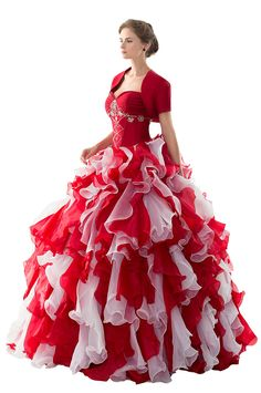 Angelstormy Women's Sweetheart Prom Ball Gown Ruffles Long Quinceanera Dress with Jacket Red US14. Rhinestone,Organza ,Taffeta,Satin Lining,Built In Bra. Sweetheart,Ruffles Organza,Empire,with Jacket. Please read carefully the Product Description (FURTHER DOWN THE PAGE) for Size Guidelines and Kindly Notes. If you need a custom size,Please send us your specific sizes (Bust,Waist,Hips,Hollow to floor, Height ) by email directly,thank you. Dry Clean Only;Made in China,Imported.