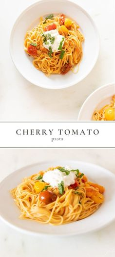 A light and refreshing Cherry Tomato Pasta Sauce that comes together in minutes. This Tomato Pasta has it all – a little heat sprinkled in with bursts of sweet cherry tomatoes. #cherrytomato #pasta #spaghetti #spaghettisauce #tomatopastasauce #pastarecipe