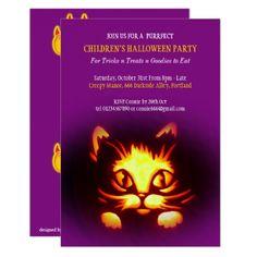 #childrens halloween cat pumpkin party invitation - #birthdayinvitation #birthday #party #invitation #cool #parties #invitations