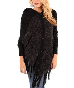 Another great find on #zulily! Black Tassel Hooded Cardigan by Lily #zulilyfinds