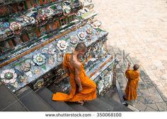 Bangkok, Thailand. December 2012. Unidentified monks visit the Buddhist temple Wat Arun