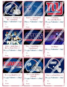 New York Giants Valentines Day Cards Sheet #6 (instant download or printed)