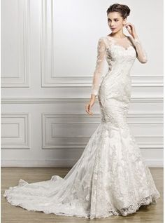 Trumpet/Mermaid Scoop Neck Chapel Train Tulle Lace Wedding Dress With Beading Sequins (002057227) - JJsHouse
