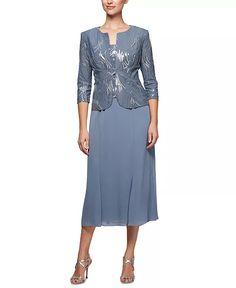 Alex Evenings - 2-Pc. Embellished Jacket & A-Line Dress Set T Length Dress, Tea Length Dresses, Dresser, Mother Of The Bride Gown, Alex Evenings, Scoop Neck Dress, Mom Dress, Review Dresses, Stunning Dresses