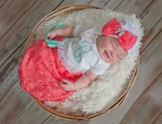 Sale Take home outfit in Coral Lace and mint by StorkNestDesigns, $27.00
