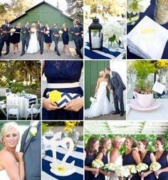 navy blue, yellow & gray wedding!