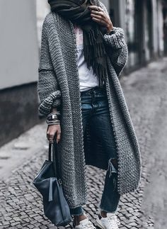 Long Sleeve Lapel Zipper Pockets Coats - Floryday Long Cardigan 0f3b58879