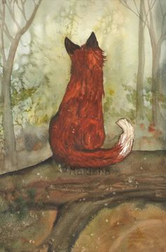 Original Art The King of Foxes Watercolor Fox by bluedogrose