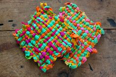 homemade potholders--we used metal frames to weave precut fabric loops...quick and fun when you are 8 years old.