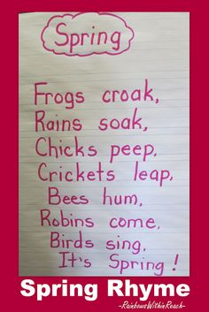 Kindergarten spring rhyme, frog rhyme, bird rhyme, handwriting, Anchor chart for… Kindergarten Poems, Preschool Songs, Kindergarten Classroom, Classroom Ideas, Toddler Classroom, Music Activities, Preschool Learning, Kids Songs, Writing