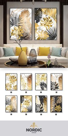 Nordic Tropical Gold Leaves Abstract Wall Art Posters Fine Art Canvas Prints For Modern Office Or Apartment Pictures For Living Room Decor - Tablolar Living Room Pictures, Wall Art Pictures, Office Pictures, Kunst Poster, Decorating With Pictures, Abstract Wall Art, Wall Art Prints, Canvas Prints, Canvas Art