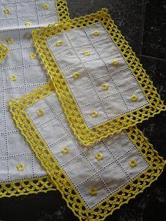 Artesanato - Arte em Croché: Jogos de quarto e cozinha em croché