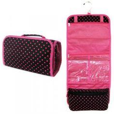 Black w/ Pink Polka Dots Travel Make Up Cosmetic Bag Case
