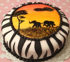 Africa cake, zebra print cake, the sunset is painted with colorant (mixed with wodka) Africa Cake, Zebra Print Cakes, Tiger Cake, Easy Minecraft Cake, Lion King Cakes, 4th Birthday Cakes, Jungle Cake, Cake Table Decorations, Food Artists