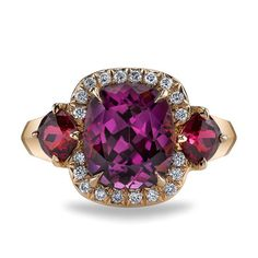 Gift: Three-Stone Pink Spinel and Diamond Halo Ring. Available in 18kt Rose Gold #jewelry #fashionrings  www.ritani.com