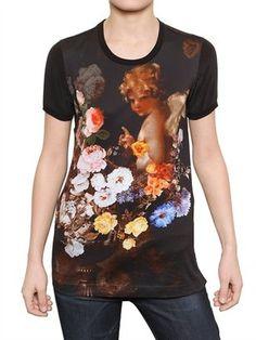 ShopStyle: Dolce & Gabbana - Cotton Jersey & Washed Silk T-Shirt