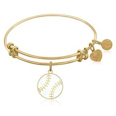 An expandable bangle in yellow tone brass. Take me out to the ball game, take me out with the crowd, buy me some peanuts and cracker jack I don't care if I neve