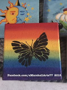 concrete stepping stone.  tole painting.  patio paint Rainbow butterfly