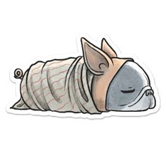 "Pig in a Blanket ""Frenchie"" Sticker – Give A Fluff"