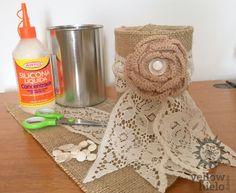 Latas decoradas IDEAS, DIY, shabby chic, vintage, reciclar, centro de mesa, boda, yute