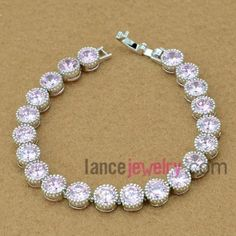 Romantic violet color zirconia beads deocrated bracelet