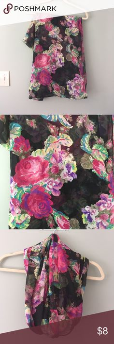Black and floral print infinity scarf Black and floral print infinity scarf.  It was used a few times and is in EUC.  It comes from a smoke free and pet free home.  Bundle and save! Accessories Scarves & Wraps