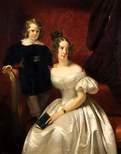 Portrait from Menuhin Sale by Sothebys, London, 2004. Claude Marie Dubufe (French, 1790-1864). Oil on canvas. The male sitter is most likely to be Lady Menuhins paternal grandfather, Gérard Gould, and his mother. By the early 1800s the Gould family had settled in Paris, where Dubufe was known to have a studio.
