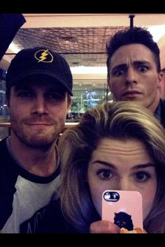 Stephen Amell, Emily Bett Rickards, and Colton Haynes
