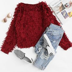 To find out about the Tiered Fringe Loose Sweater at SHEIN, part of our latest Sweaters ready to shop online today! Best Casual Outfits, Cute Lazy Outfits, Edgy Outfits, Outfits For Teens, Girls Fashion Clothes, Winter Fashion Outfits, Fall Outfits, Girl Fashion, Clothes For Women