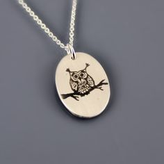Tiny Sterling Silver Owl Necklace by Lisa Hopkins Design