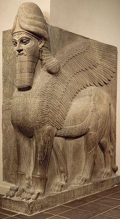Human-headed winged lion (lamassu), 883–859 b.c.; Neo-Assyrian period, reign of Ashurnasirpal II  Excavated at Nimrud (ancient Kalhu), northern Mesopotamia  Alabaster (gypsum)
