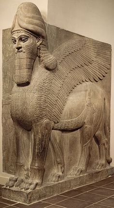 Human-headed Winged Lion (Alabaster) -- 883-859 BCE -- Neo-Assyrian Period -- Reign of Ashurnasirpal II -- Excavated at Nimrud, Northern Mesopotamia