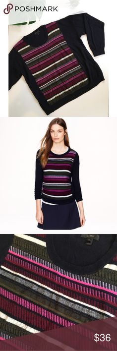 """J. Crew Soft Navy Purple Striped Sweater Top Cute crew neck sweater featuring a geometric print with stripes by J. Crew. Viscose, Wool, nylon and rabbit hair blend. Tag reads XXL but fits more like regular XL. Measures 24"""" X 24"""" laid flat. Would also be great as an oversized sweater if you're a smaller size. J. Crew Sweaters Crew & Scoop Necks"""