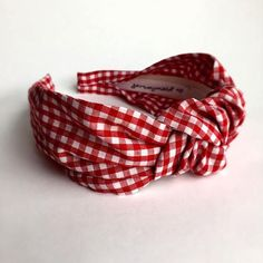 Gingham headband Red White gingham Top knot turban headband adult 40's vintage style hairband hair