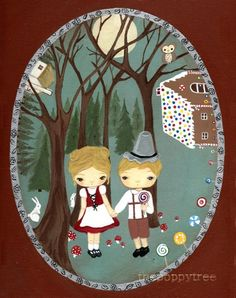 Hansel+And+Gretel+Print+Fairy+Tale+Candy+Forest+by+thepoppytree