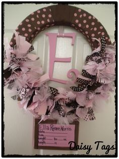 new baby ribbon wreath in pinks and browns with birth announcement on canvas for hospital door Baby Door Wreaths, Hospital Door Wreaths, Ribbon Garland, Tulle Wreath, Baby Kranz, Bless The Child, Baby Decor, Flower Crafts, Baby Love