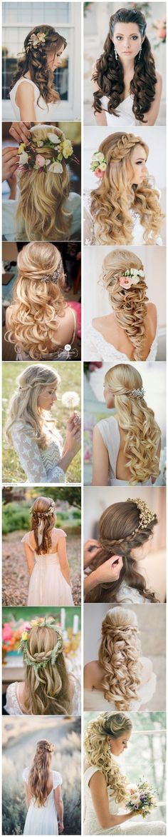 40 Stunning Half Up Half Down Wedding Hairstyles With Tu .- 40 Atemberaubende Half Up Half Down Hochzeitsfrisuren mit Tutorial 40 Stunning Half Up Half Down Wedding Hairstyles with Tutorial – – - Wedding Hair Down, Wedding Hair And Makeup, Hair Makeup, Dress Wedding, Wedding Braids, Wedding Beauty, My Hairstyle, Pretty Hairstyles, Wedding Hairstyles