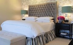 Suzie: Jenn Feldman Designs - Platinum gray tufted velvet headboard, platinum gray ruffled bed ...
