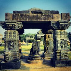 Pillared 'Mandapa' with a Nandi bull in the ruins of the Warangal Fort-complex. Built by King Ganapathi in 13th century and completed by his daughter Rudrama, Warangal Fort showcases the pride and power of the famous Telugu dynasty, the Kakatiyas, in 1261 A.D. Telangana, India.