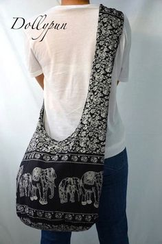 Absolute Black - Bohemian Hippie Elephant Printed Cotton Crossbody Bag Sling Handmade Shoulder Bag Boho Hobo Messenger Bag Purse