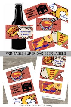 Looking for a unique gift for dad? He is going to love these super dad beer labels. Perfect for dad's birthday or for fathers day. Simply chose his favorite beer and add the printable labels. These are the best beer labels for dad that will make him feel like a real super hero.
