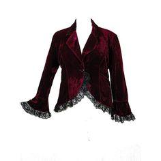 Plus Size Burgundy Victorian Gothic Lace Trim Corset Velvet Punk... ($55) ❤ liked on Polyvore featuring outerwear, jackets, gothic jackets, punk rock jacket, women's plus size jackets, burgundy jacket and punk jacket