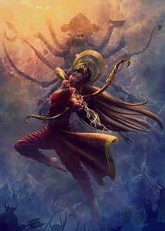 Indian Goddess Kali, Goddess Art, Durga Goddess, Indian Gods, Shiva Parvati Images, Durga Images, Durga Maa Paintings, Indian Art Paintings, Lord Shiva Painting