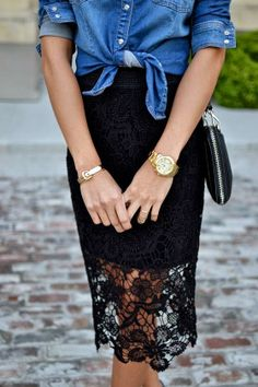 Crochet Black Wrap Skirt With Leather Purse