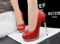 Thin Red High Heels Platform Pumps Open peep Toe High Heels Dress Shoes For Women